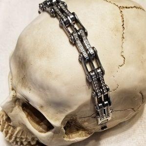 Diamond CZ Bike Chain Bracelet